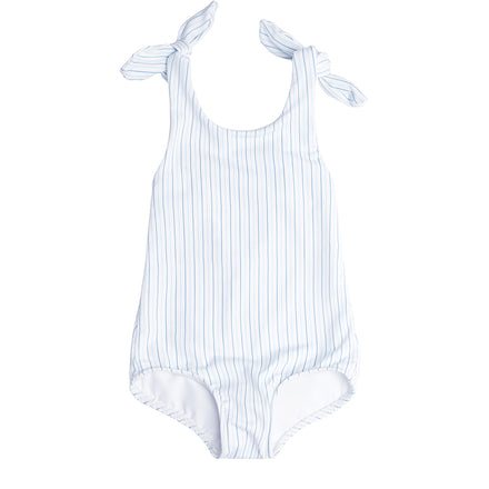 Girl's Double Striped Tie Knot One Piece