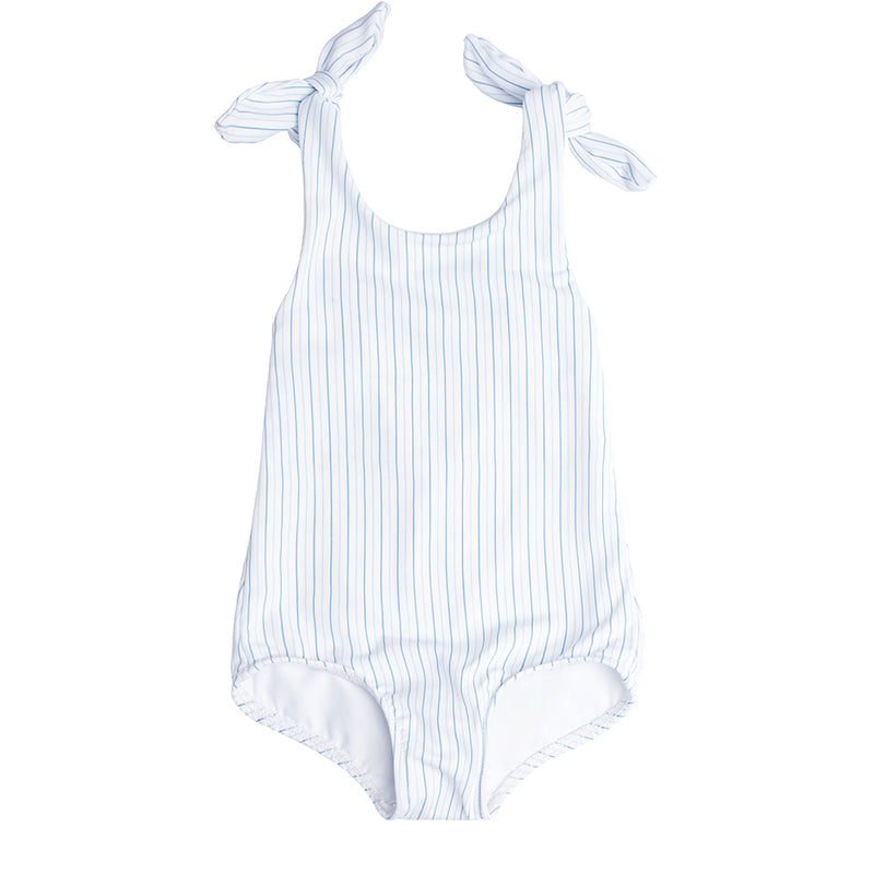 girls double striped tie knot one piece