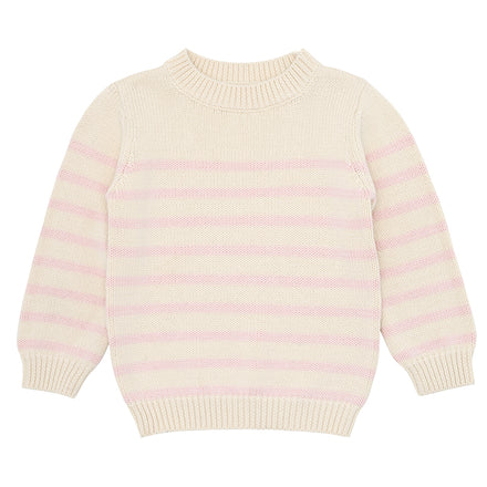 cream and pink stripe knit sweater