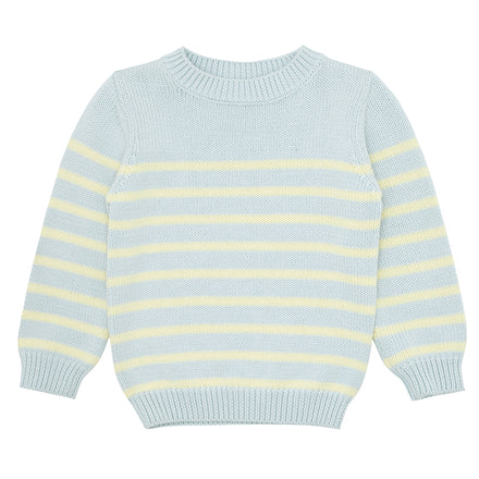 blue and yellow stripe knit sweater
