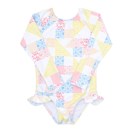 minnow x maisonette girls patchwork rashguard one piece