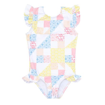 minnow x maisonette girls patchwork ruffle sleeve rashguard one piece