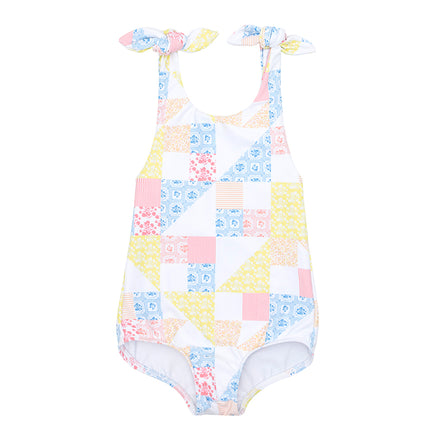 minnow x maisonette girls patchwork tie knot one piece