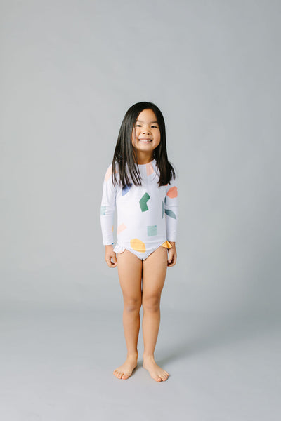 girls abstract shapes rashguard one piece