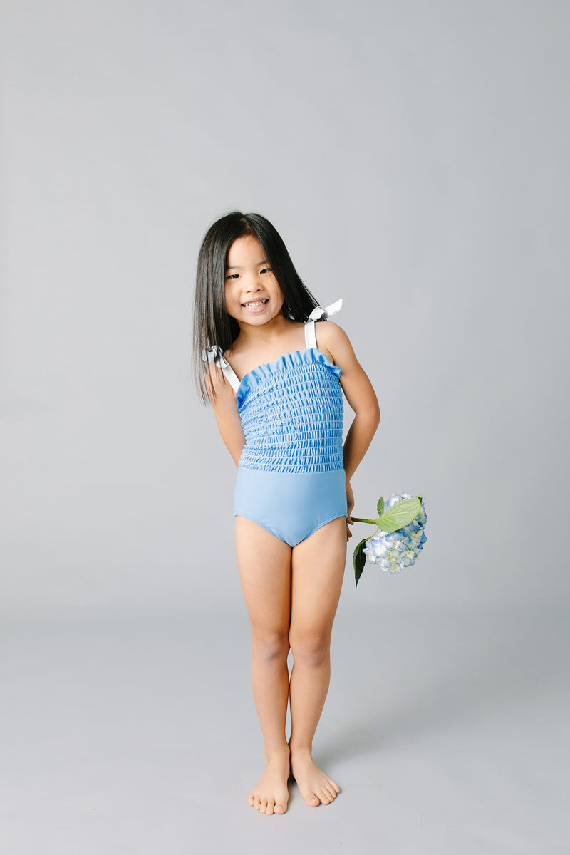 girls peri blue smocked one piece