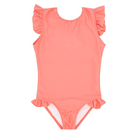girls coral ruffle sleeve rashguard one piece