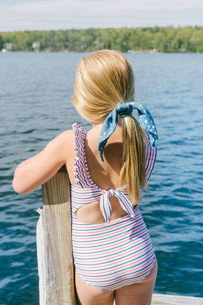 girl's mariner stripe ruffle collar one piece