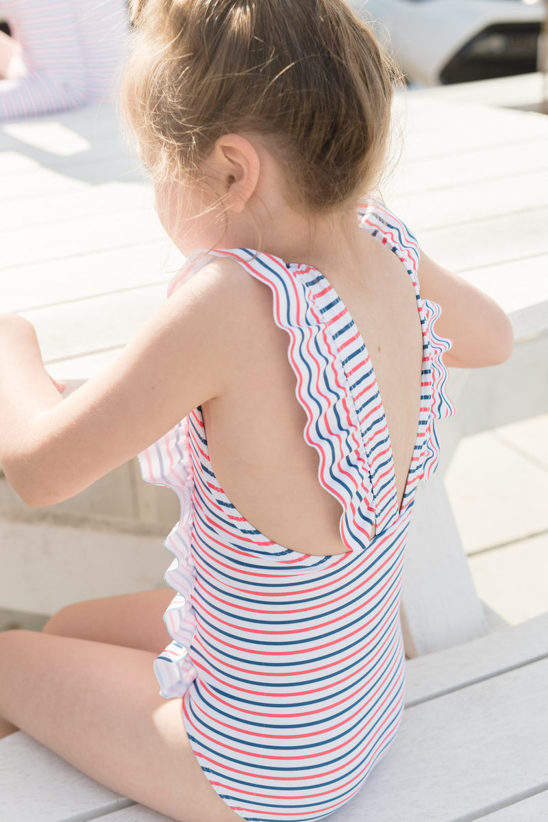girl's mariner stripe ruffle one piece