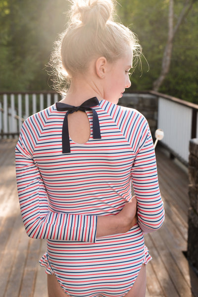 girl's mariner stripe rashguard one piece
