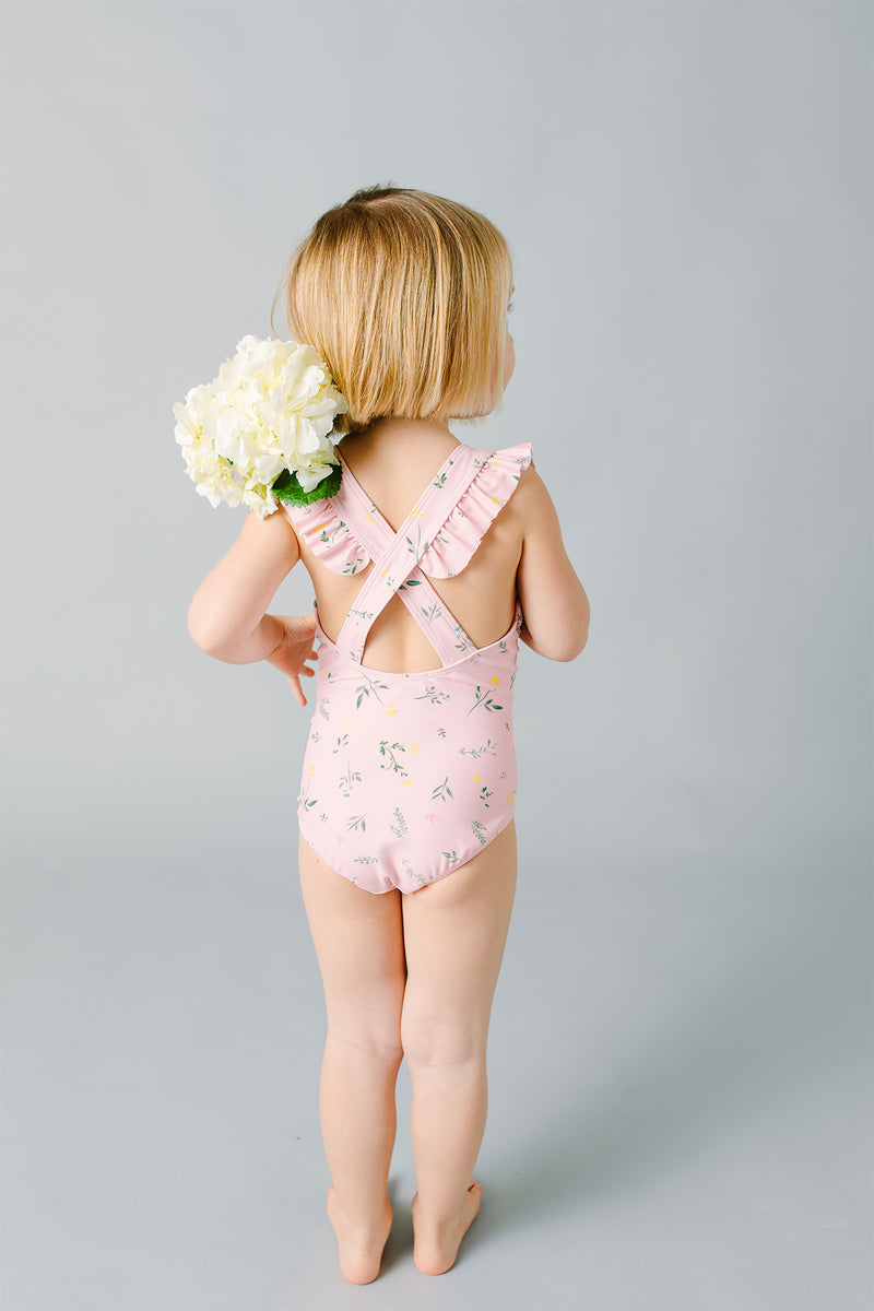 girls botanical pink crossover one piece