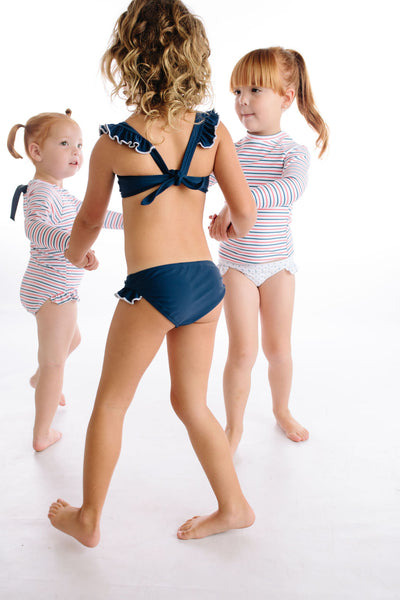 girls navy and white tie back bikini