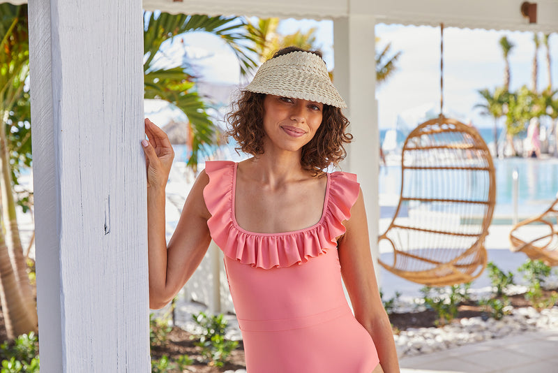 women's coral ruffle one piece
