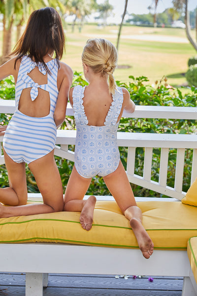 girls mosaic blue floral ruffle strap one piece