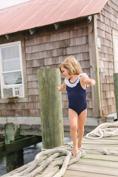 girls navy ruffle collar one piece