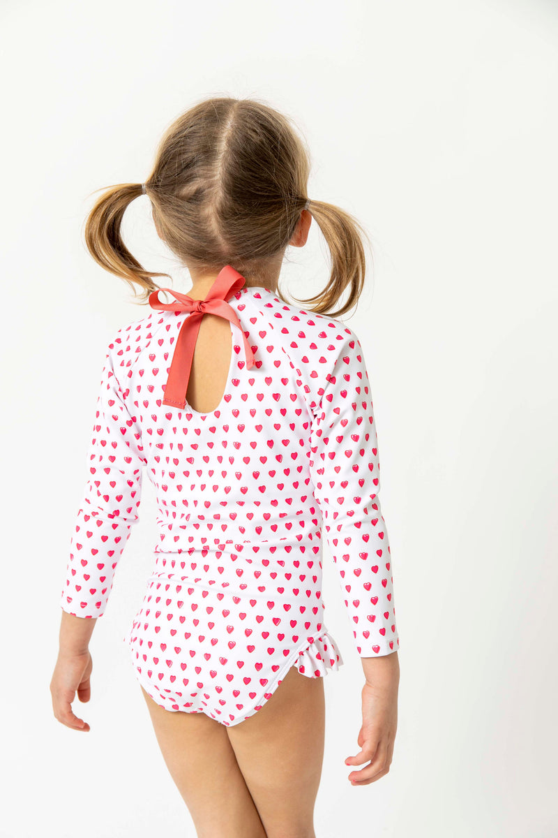 girls pink heart rashguard one piece