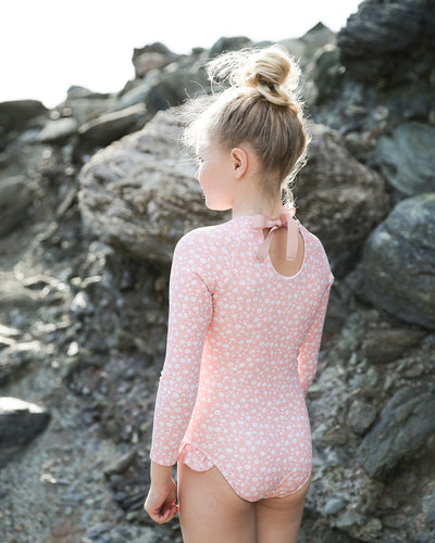 girl's melone floral rashguard one piece