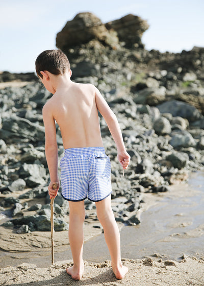 boy's blue gingham boardie