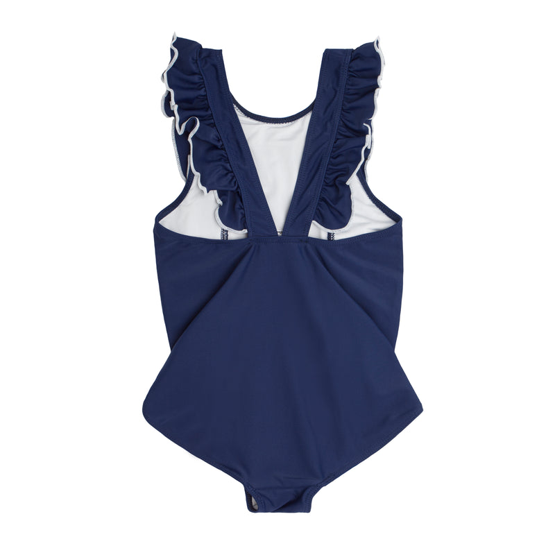 girl's navy and white ruffle one piece