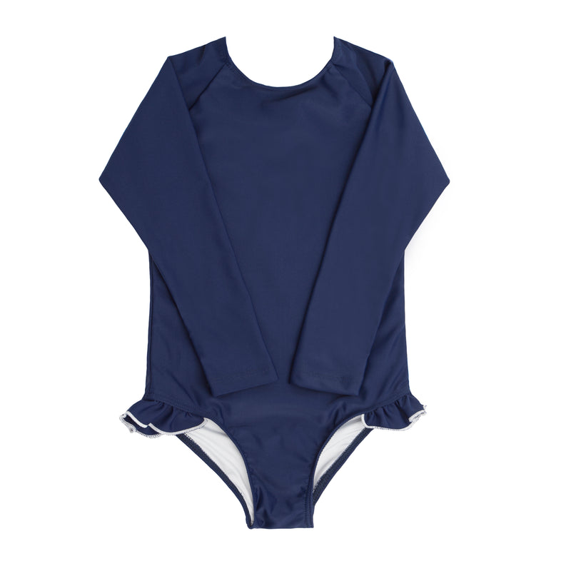 girl's navy and white rashguard one piece