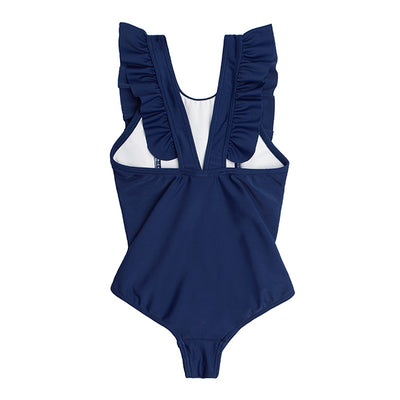 girls navy ruffle one piece
