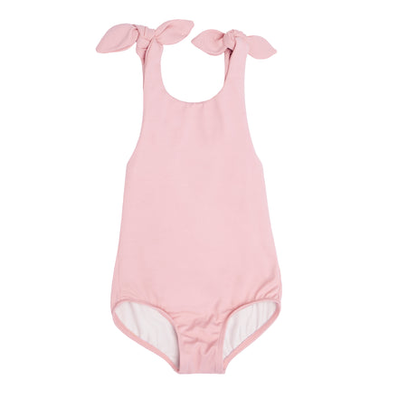 girls pink tie knot one piece