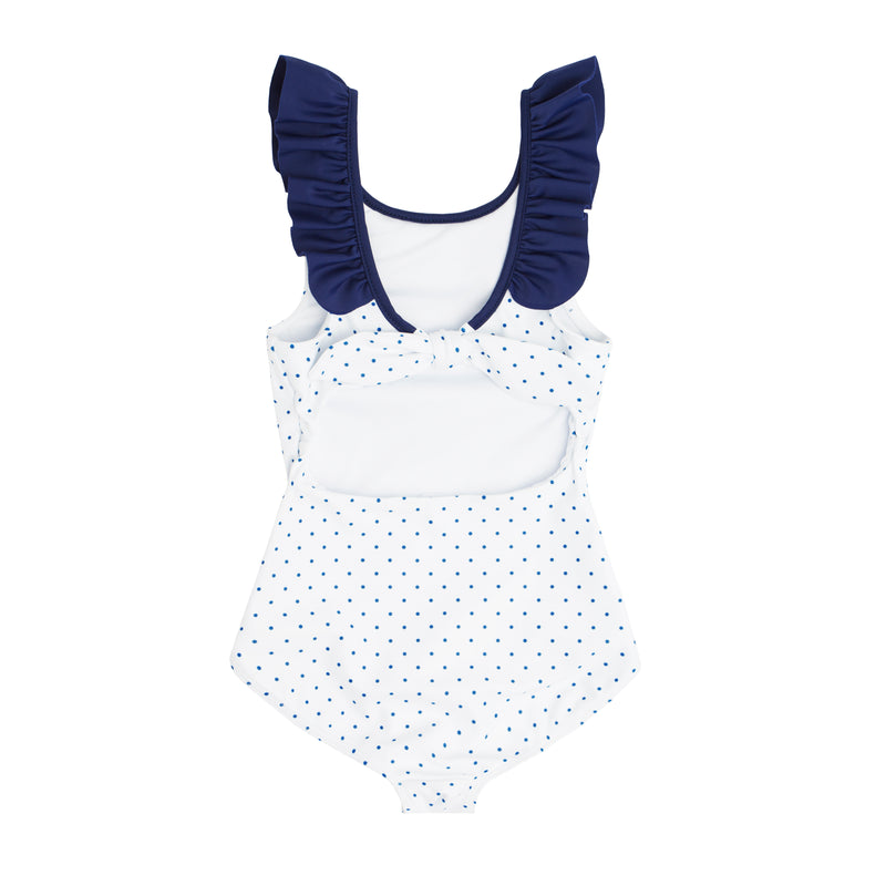 girl's white dot ruffle collar one piece