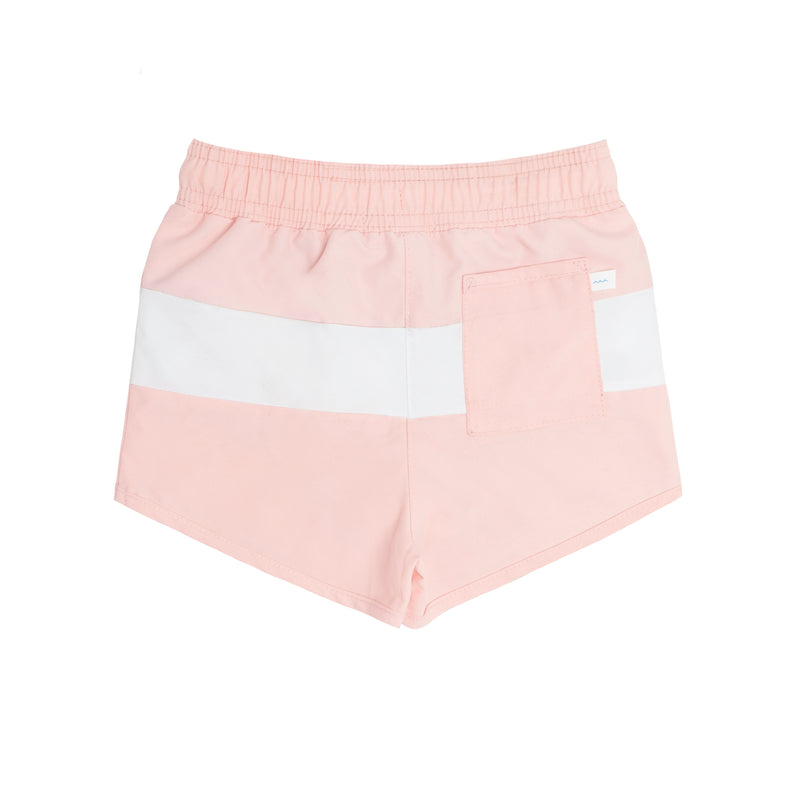boys pink + white color block boardie