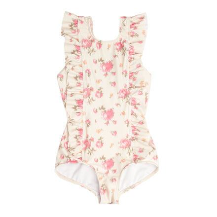 girl's ikat rose ruffle one piece