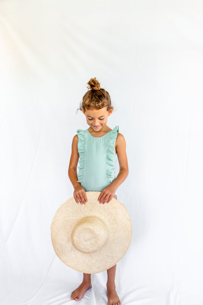 girls seafoam ruffle one piece