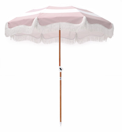 pink stripe beach umbrella
