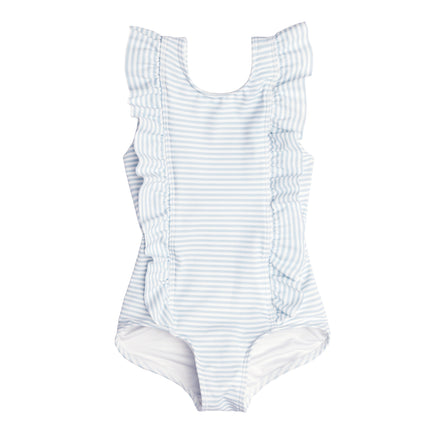 girls powder blue stripe ruffle one piece