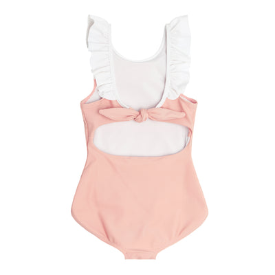 girls shell pink ruffle collar one piece