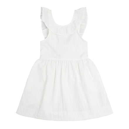 girls swiss dot ruffle collar dress