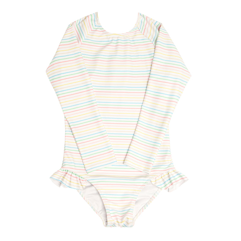 girls antique rainbow rashguard one piece