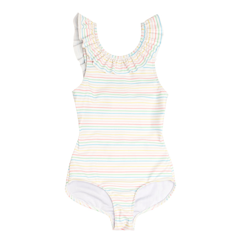 girls antique rainbow ruffle collar one piece