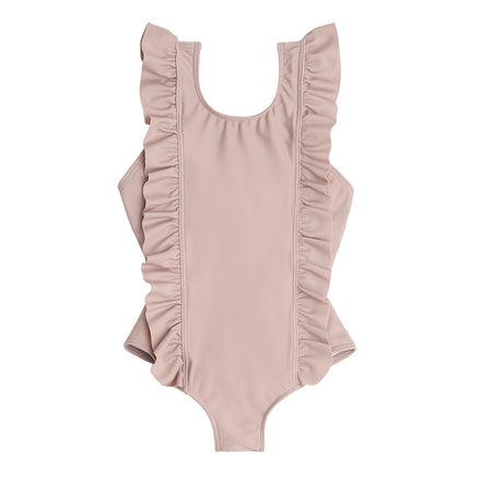 girls dusty plum ruffle one piece