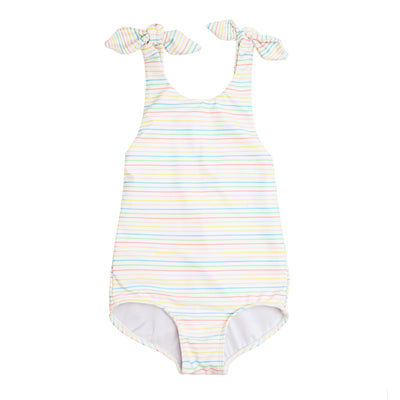 girls antique rainbow tie knot one piece