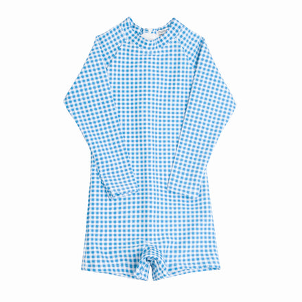 boy's blue gingham rashguard one piece