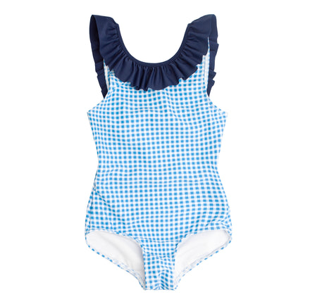 girls blue gingham ruffle collar one piece