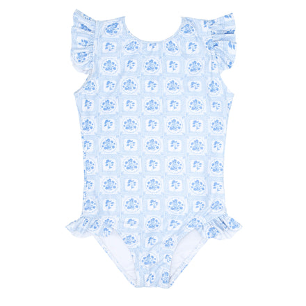 girls mosaic blue floral ruffle sleeve rashguard one piece