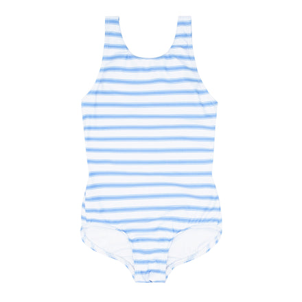 girls boca blue stripe double bow one piece