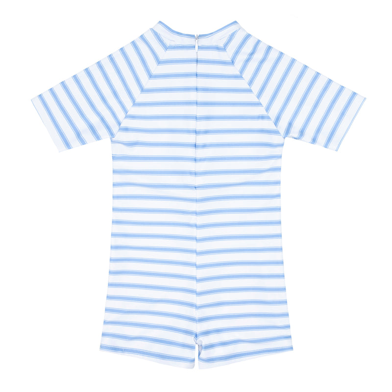 boys boca blue stripe rashguard one piece