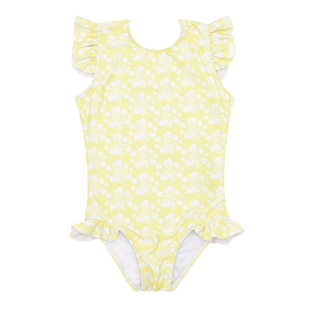girls citron blossom ruffle sleeve rashguard one piece