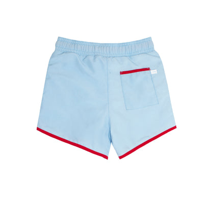 boys french blue boardie with side binding