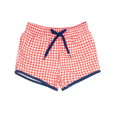 boys red gingham boardie