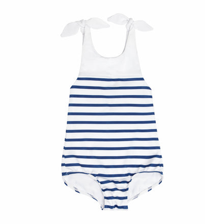 girls breton stripe tie knot one piece
