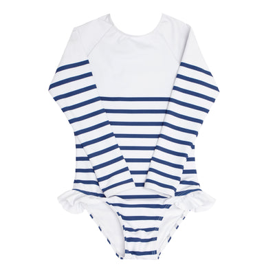 girls breton stripe rashguard one piece