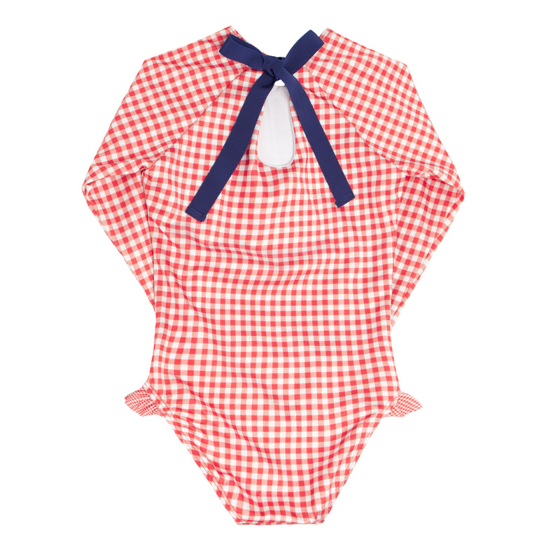 girls red gingham rashguard one piece