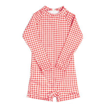 boys red gingham rashguard one piece