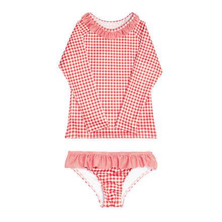 girls red gingham ruffle collar rashguard set